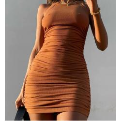 Robe courte cotelé camel - Cassie