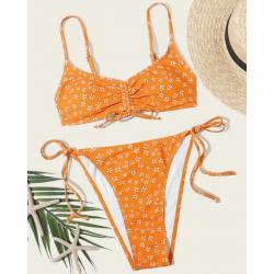 Bikini Orange imprimé fleur