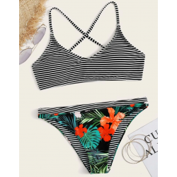 Bikini tropical à rayures