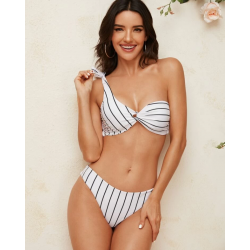 Bikini blanc à rayures