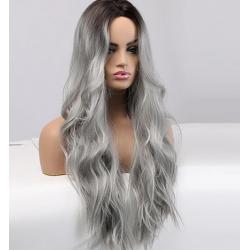 Perruque wigs long argent